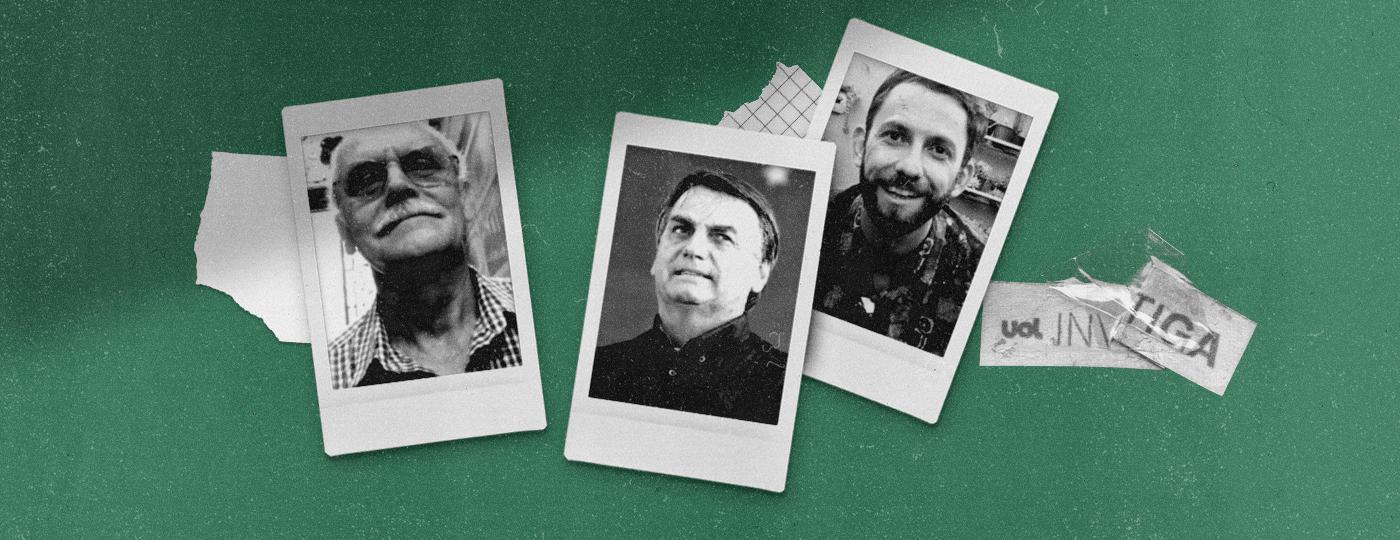 O coronel Guilherme Hudson, o presidente Jair Bolsonaro, e seu ex-cunhado André Siqueira Valle -