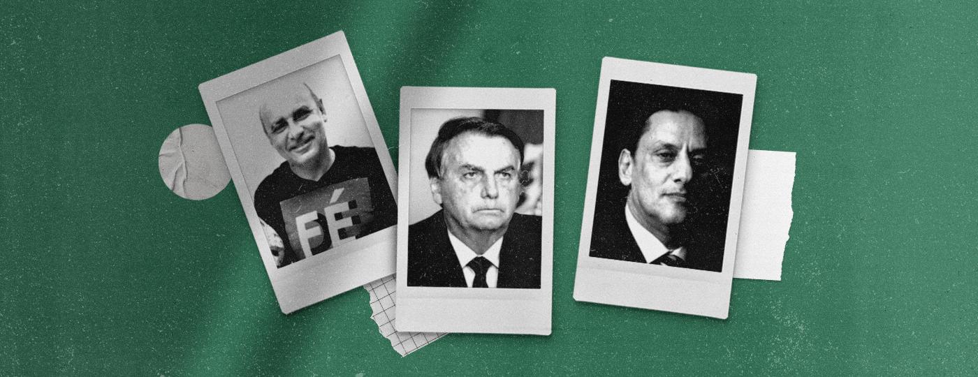 O policial militar Fabrício Queiroz, o presidente Jair Bolsonaro, e o advogado Frederick Wassef -