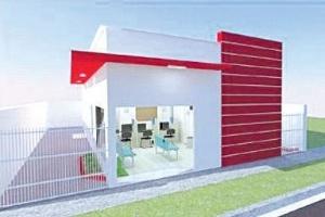Reprodução do novo layout das farmácias populares em Minas Gerais, com a fachada em vermelho