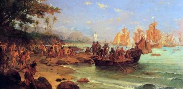 Quadro de Oscar Pereira da Silva que retrata o desembarque de Cabral no Brasil