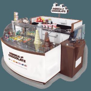 Quiosque da franquia Fábrica Di Chocolate, que faz fondue - Divulgação