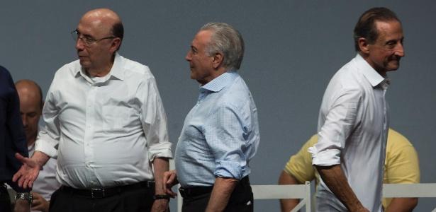 Meirelles (à esq.), Temer e Skaf durante evento do MDB em São Paulo