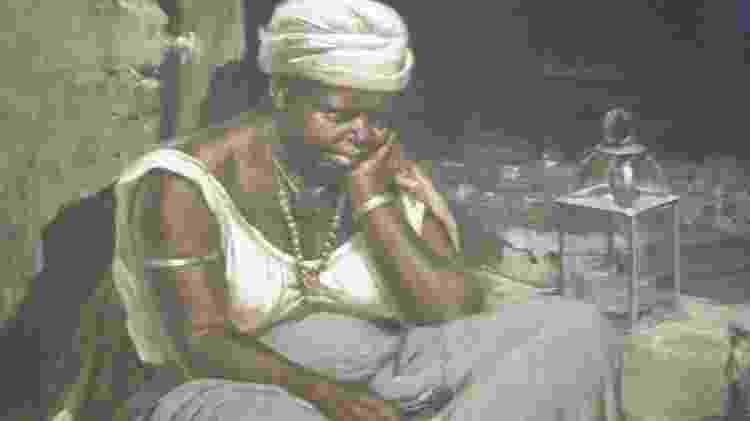 Pintura 'Negra Quitandeira' de Antonio Ferrigno - indumentária malê teria dado origem ao turbante branco usado no candomblé e na umbanda - Reprodução - Reprodução