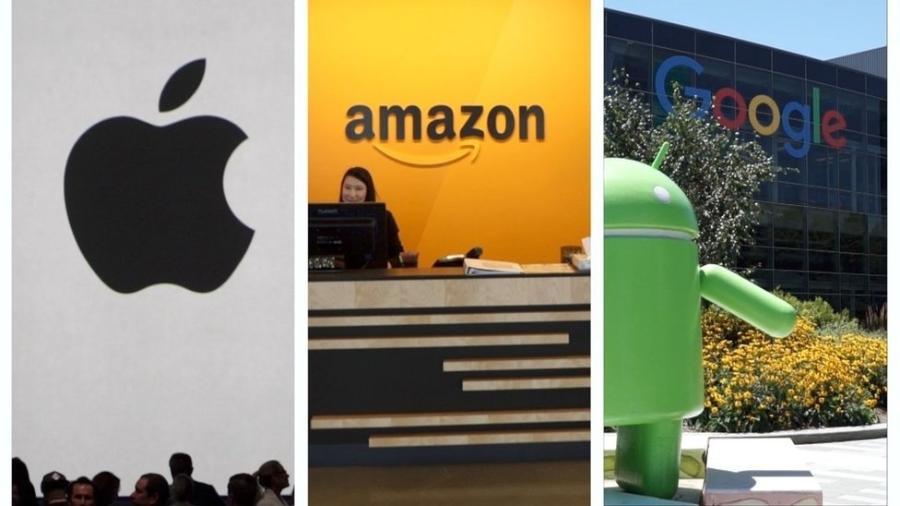 Estas três gigantes da tecnologia e a Microsoft agora fazem parte do clube de empresas trilionárias - BBC