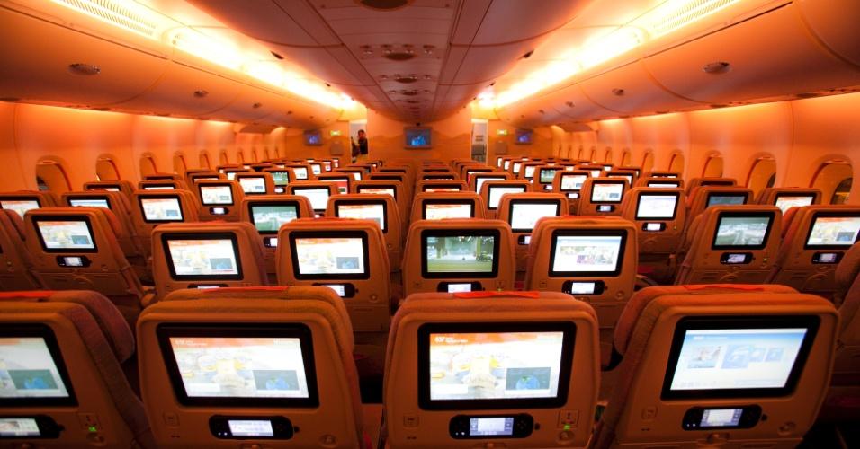 A classe econômica do A380, maior avião de passageiros do mundo