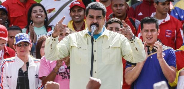 Nicolás Maduro, presidente da Venezuela, durante comício em Caracas