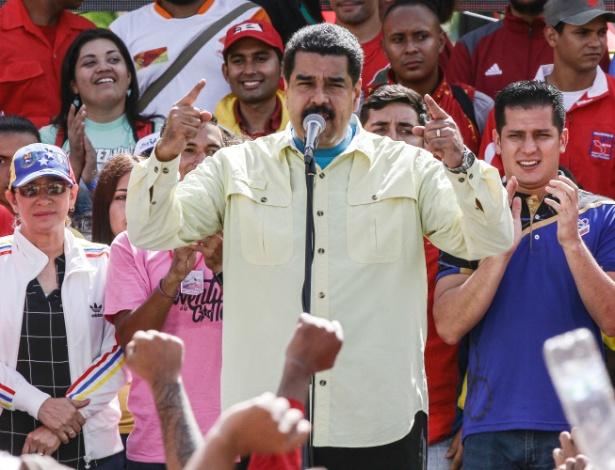 1º.jun.2016 - Nicolás Maduro, presidente da Venezuela, durante comício em Caracas