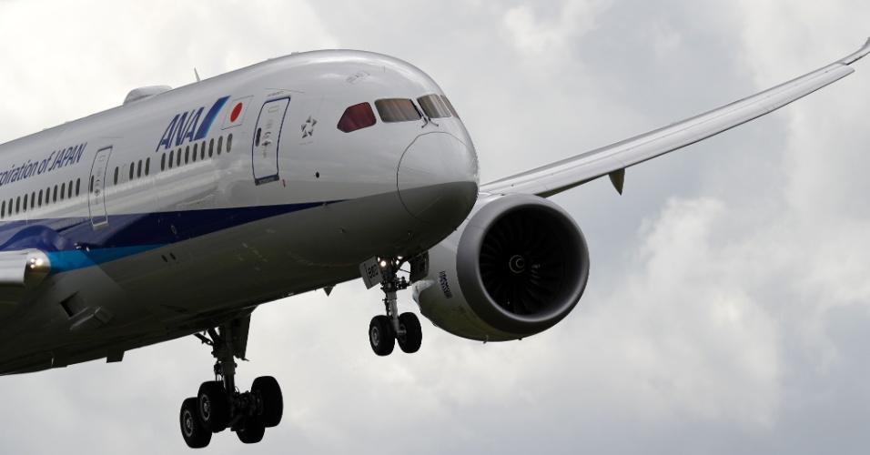 Boeing 787 Dreamliner está presente no Farnborough Airshow, evento  de exposição de aeronaves na Inglaterra