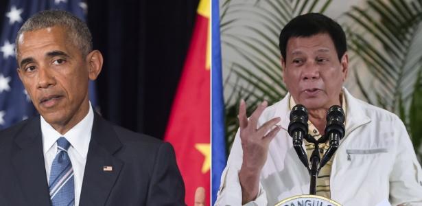 Montagem mostra o presidente dos EUA, Barack Obama (esq), em Hangzhou (China) e o presidente das Filipinas, Rodrigo Duterte, em Davao City (Filipinas)