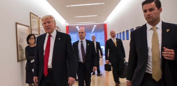 "Donald Trump após entrevista com jornalistas e executivos do ""New York Times"""