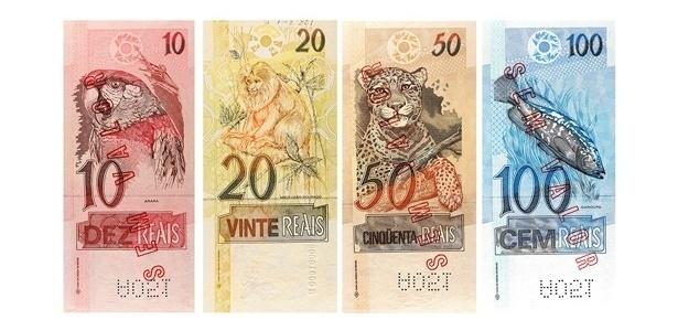 Brasil: Outras notas de real têm ainda a arara-vermelha, o mico-leão-dourado, a onça-pintada e a garoupa