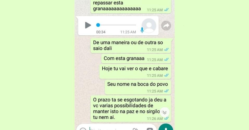 Conversa de Whatsapp sobre chantagem de homem sobre ex-namorada, ameaçando divulgar vídeos íntimos. Caso foi registrado em Assu (RN)