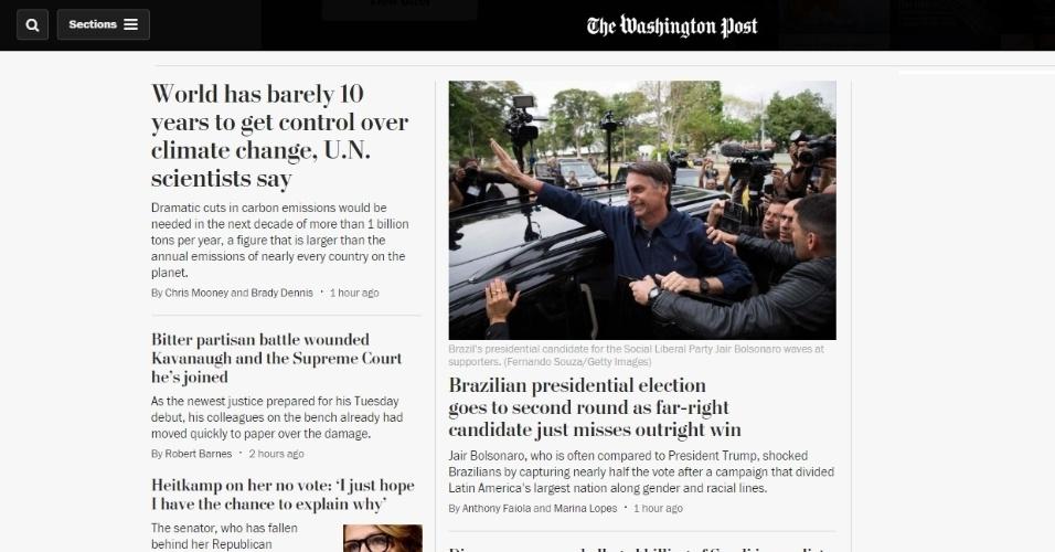 """Washington Post (EUA): """"Jair Bolsonaro, que é frequentemente comparado ao Presidente Trump, chocou os brasileiros ao conquistar quase metade dos votos após uma campanha que dividiu o maior pais da América Latina em questões raciais e de gênero"""""""
