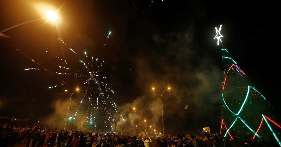 31.dez.2018 - Iraquianos celebram o Réveillon em Mossul, no Iraque
