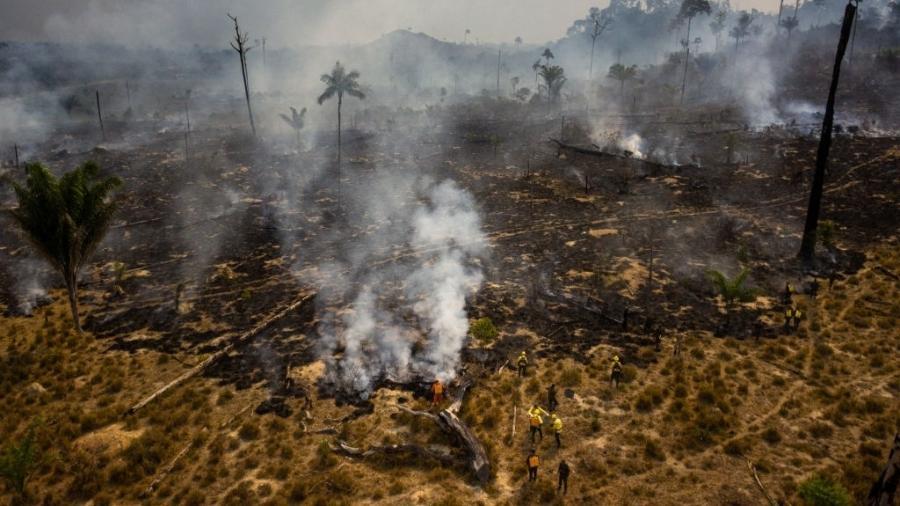 Novo Progresso, Pará: integrantes da Prevfogo, brigada do Ibama contra incêndios, combatem fogo na Amazônia - Gustavo Basso/NurPhoto via Getty Images