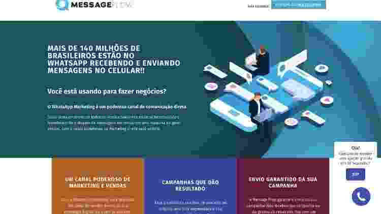 Página da Message Flow, com trechos idênticos aos do site da Yacows, empresa proibida pela Justiça de atuar - Reprodução/MessageFlow.com.br - Reprodução/MessageFlow.com.br
