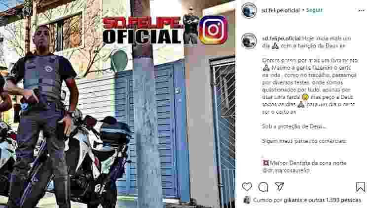 """Postagem no Instagram do SD Felipe diz que ele passou por um """"livramento"""" no dia anterior (o dia em que prendeu o motoboy) - Reprodução - Reprodução"""