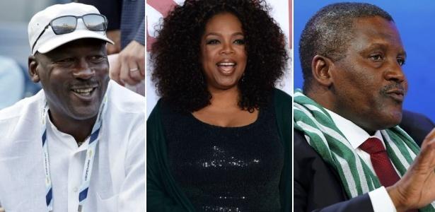 Da esquerda para a direita: Michael Jordan, Oprah Winfrey e Aliko Dangote
