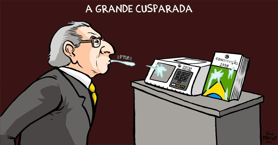 """19.abr.2016 - O cartunista """"Que Mário?"""" faz uma referência ao incidente entre o deputado federal Jean Wyllys (PSOL-RJ) e o colega Jair Bolsonaro (PSC-RJ).  Wyllys cuspiu em Bolsonaro durante a sessão de votação do impeachment da presidente Dilma Rousseff"""
