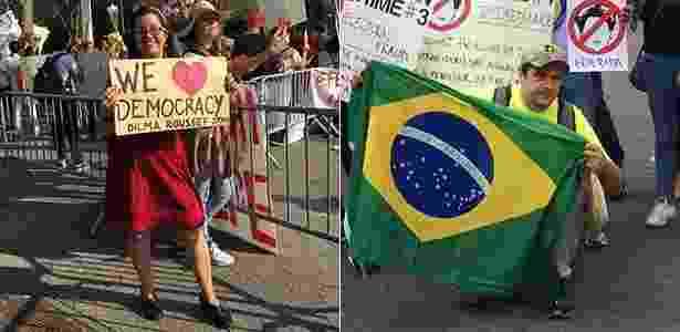 Miriam Marques e Plaucio Pucci, brasileiros contra e a favor do impeachment em Nova York - Nilton Carauta/UOL - Nilton Carauta/UOL