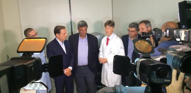 Doria durante o lançamento do Corujão da Saúde em unidade do HCor