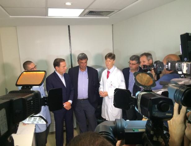 Doria durante o lançamento do Corujão da Saúde em unidade do HCor: dez pacientes atendidos de uma fila de espera de 485 mil