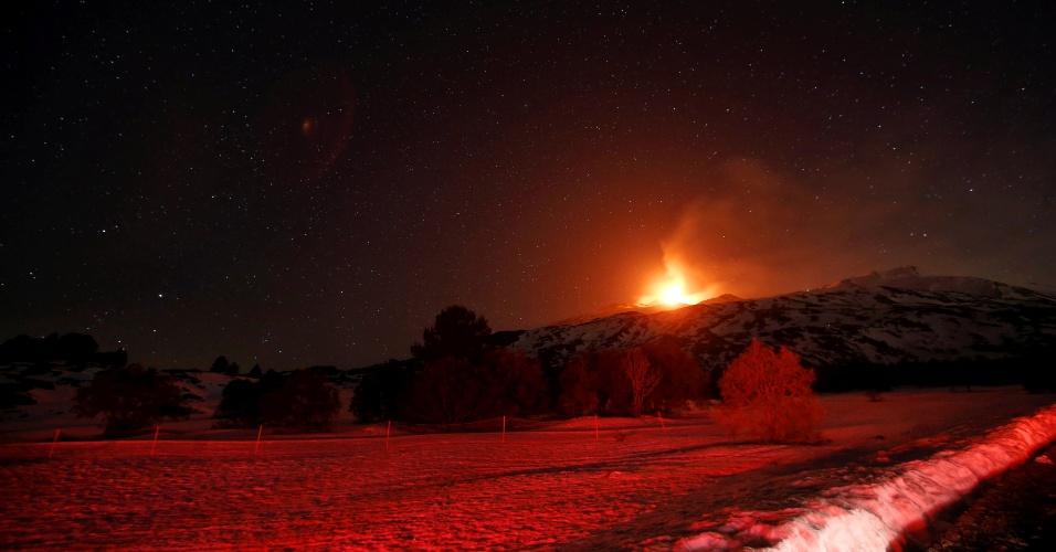 28.fev.2017 - O vulcão Etna, situado na ilha italiana da Sicília (sul), entra em erupção. Segundo o Instituto Nacional de Geofísica e Vulcanologia da cidade siciliana de Catânia, a atividade do vulcão se intensificou de forma gradual desde segunda-feira (27)