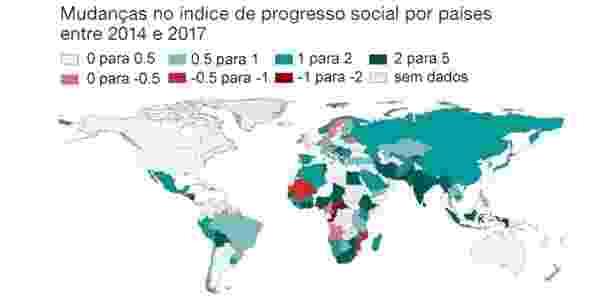 Mapa mostra mudanças no Índice de Progresso Social - Social Progress Imperative/BBC - Social Progress Imperative/BBC
