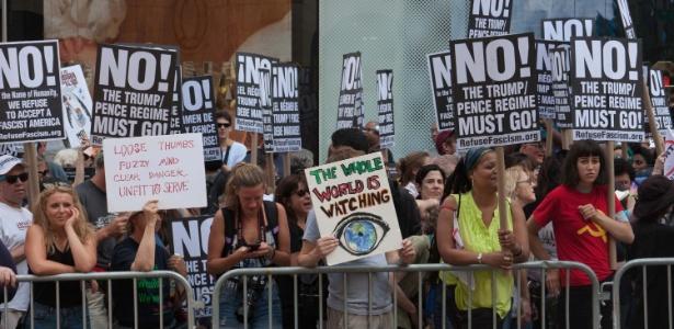 15.jul.2017 - Protesto contra o governo Trump em Nova York