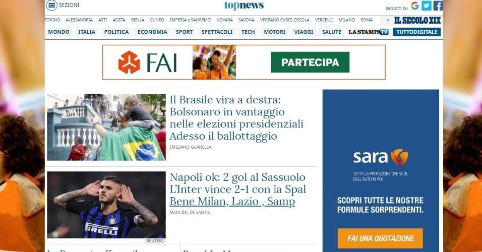 """La Stampa (Itália): """"Foi por um suspiro que Jair Bolsonaro não venceu as eleições brasileiras e terá que ir às urnas com o candidato da esquerda, Fernando Haddad"""""""