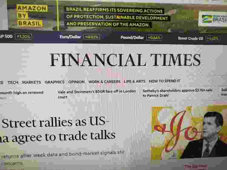 Anúncio do governo brasileiro foi veiculado no 'Financial Times' com erro de grafia -  -