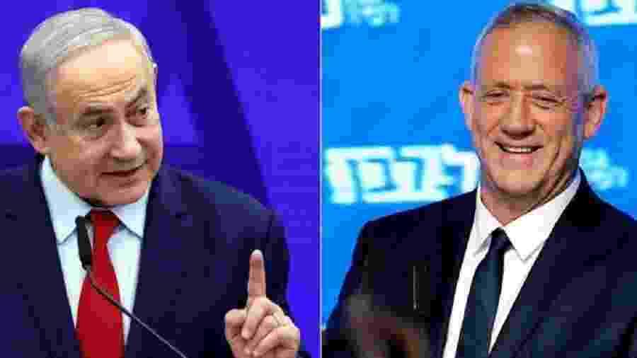 Não há uma rota clara de formação de governo, nem para Benjamin Netanyahu (esq) ou para seu rival, Benny Gantz (dir) - Reuters