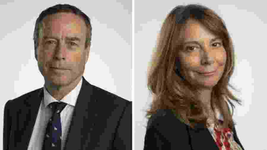 Lionel Barber, ex-editor chefe do Financial Times, e Roula Khalaf, sua sucessora no cargo - Charlie Bibby/Financial Times