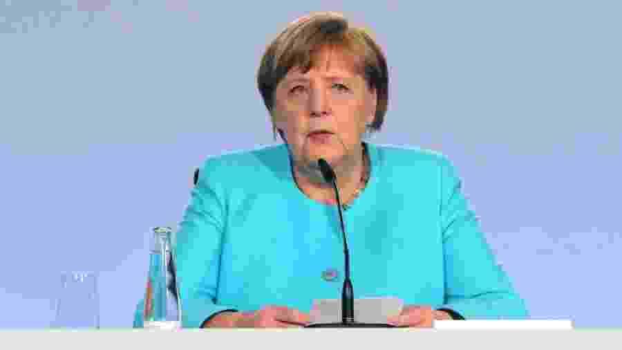 3.jun.2020 - A chanceler da Alemanha, Angela Merkel, anuncia pacote de estímulos para minimizar efeitos da crise causada pelo novo coronavírus - Mika Schmidt-Pool/Getty Images