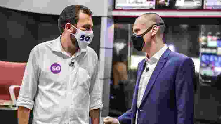 Em São Paulo, Guilherme Boulos (à esq.) e Bruno Covas se enfrentam no 2º turno - Kelly Queiroz/CNN Brasil  -16.11.2020 - Kelly Queiroz/CNN Brasil  -16.11.2020