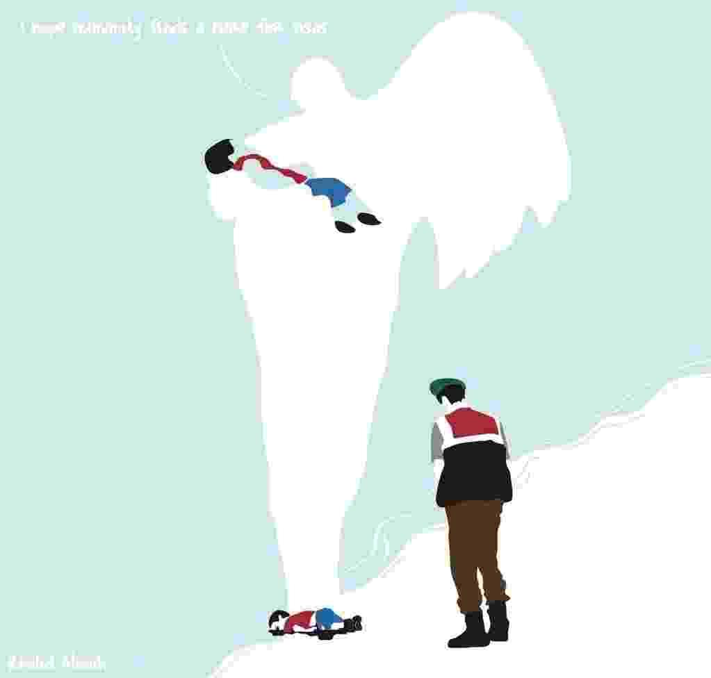 3.set.2015 - Ao abraçar Aylan Kurdi, um anjo diz: espero que a humanidade encontre a cura para os vistos de entrada - Reprodução/Twitter