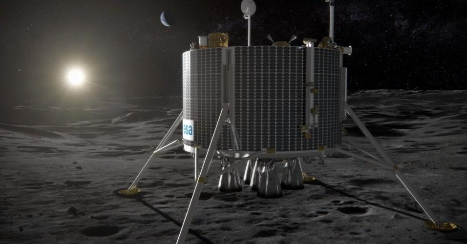 FEITO PARA POUSAR NA LUA - A Agência Espacial Europeia (ESA, na sigla em inglês) divulgou esta imagem, de uma impressão artística, de como será o veículo que está sendo concebido para pousar na Lua. O robô vai explorar o solo lunar e conduzir experimentos científicos. O veículo é um projeto da ESA com a Agência Espacial Russa (Roscosmos) para explorar o Pólo Sul da Lua e verificar a possibilidade de haver uma base humana lá. A primeira missão está prevista para 2020