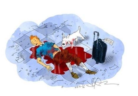 22.mar.2016 - O cartunista sul-africano Jerm também usou Tintim para se solidarizar às vítimas do ataque terrorista em Bruxelas. O personagem do belga Hergé acabou virando símbolo de homenagens
