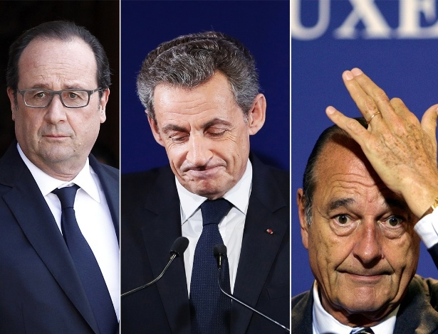 A partir da esquerda: o presidente francês François Hollande e os ex-presidentes Nicolas Sarkozy e Jacques Chirac