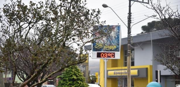 Na cidade de São Joaquim (SC), os termômetros marcam 3°C nesta segunda-feira