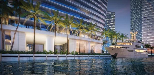 Condomínio de luxo da Aston Martin, em Miami, terá marina para lanchas e iates - Divulgação
