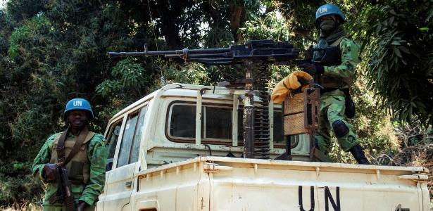 Militares de Camarões na vila de Bedaya, na República Centro-Africana