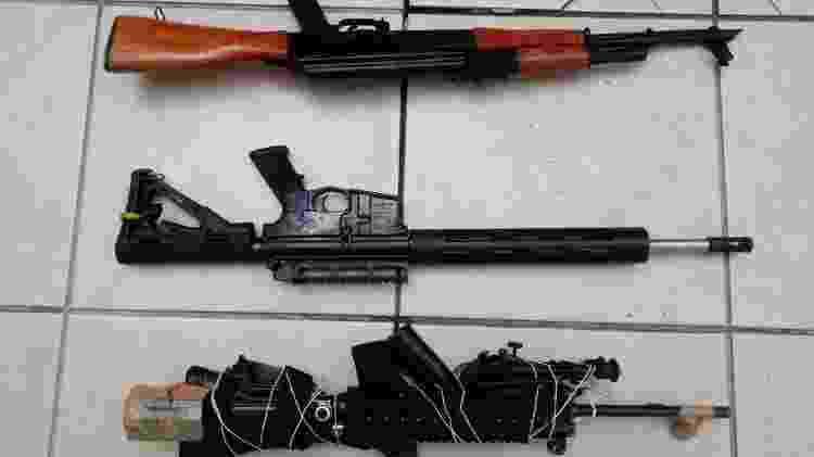 Armamentos encontrados em carro de criminosos que atiraram contra PMs em Piracicaba - 14.dez.2019 - Divulgação - 14.dez.2019 - Divulgação