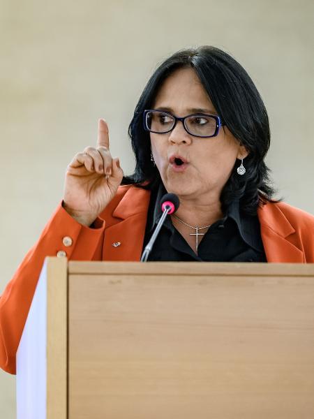 A ministra Damares, no Conselho de Direitos Humanos da ONU, neste Dia Internacional da Mulher: Brasil não aderiu a ato pela defesa das mulheres  - Fabrice Coffrini / AFP