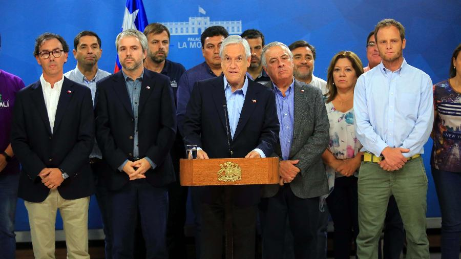 15.mar.2020 - O presidente do Chile, Sebastián Piñera, em conferência de imprensa - José Francisco Zuñiga/AGENCIAUNO/Xinhua