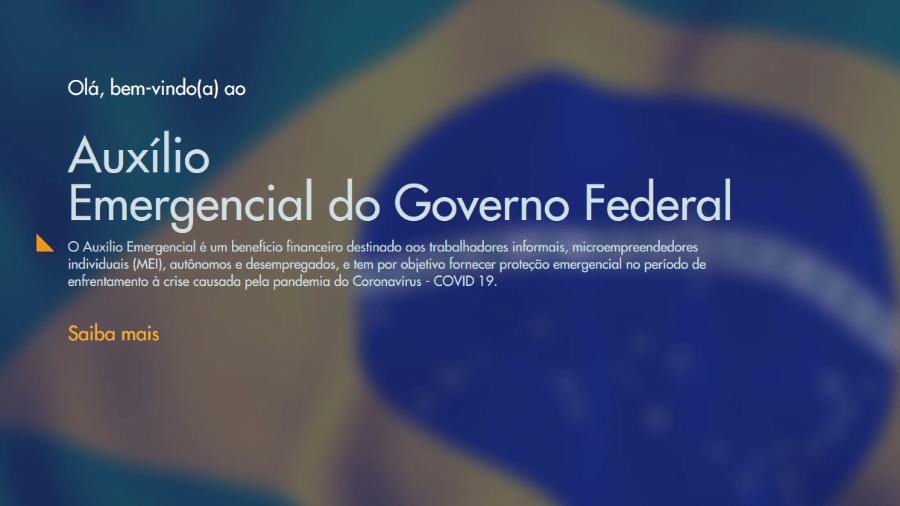 Página inicial do portal da Caixa para solicitação do Auxílio Emergencial - Reprodução