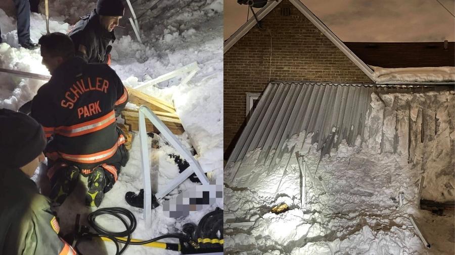 Toldo desabou devido ao peso da neve e caiu em uma mulher em Schiller Park, Illinois (EUA) - Reprodução/Facebook/Schiller Park Firefighters Local 5230