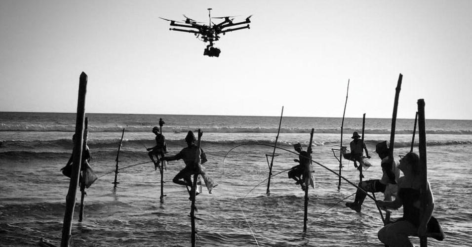 Drone da produtora Peixe Vivo, durante filmagem no Sri Lanka