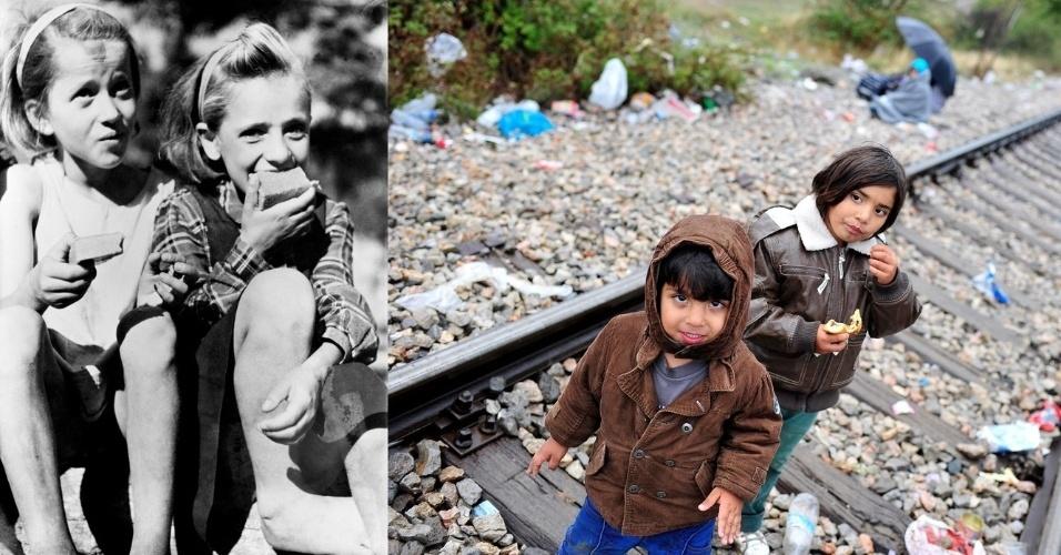 As poucas comidas dão alívio para as crianças. Na foto de 1946, na Grécia, garotas aproveitam uma ração distribuída na época. Já em 2015, em um trilho perto da fronteira grega, uma criança come um lanche