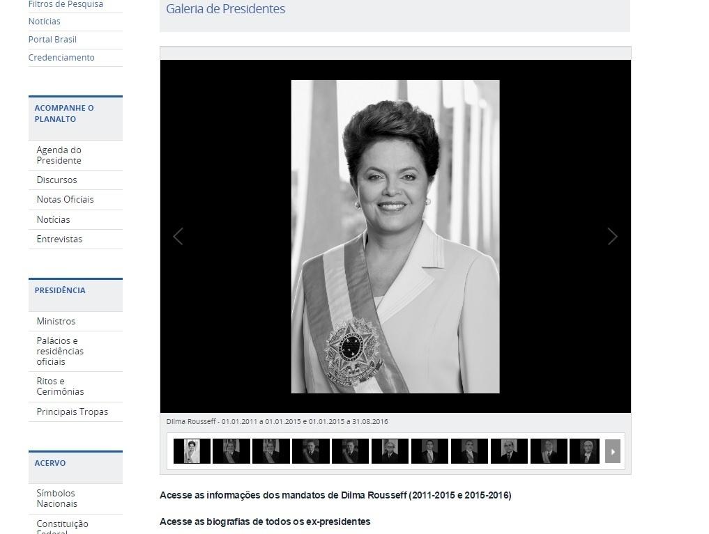 31.ago.2016 - Site do Palácio do Planalto é atualizado para incluir Dilma Rousseff na galeria de ex-presidentes